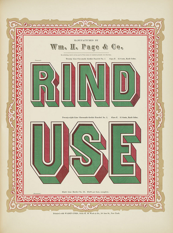 Specimens of chromatic wood type, borders 1874 [via Columbia U] (Rind + Use) Gothic paneled No.2 type #chromatic #print #wood #type #decorative #typography