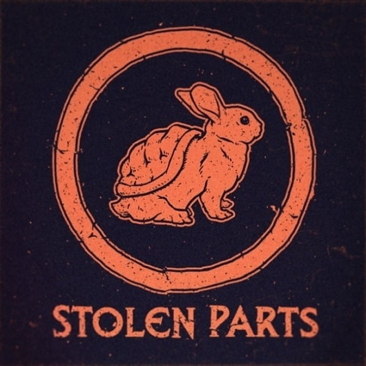 Stolen Parts 7″ Cover | Album Art | Jeff Finley #album cover #record #rabbit #turtle #shell #jeff finley #stolen parts