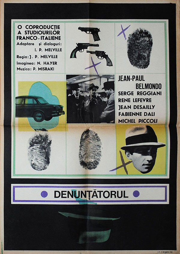 1963 Romanian poster for LE DOULOS aka THE FINGER MAN (Jean-Pierre Melville, France, 1962)