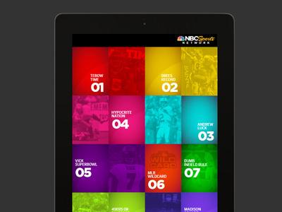 iPad UI for NBC Sports Network 1 #sport #branding #ipad #interface #texture #grid #york #usa #new