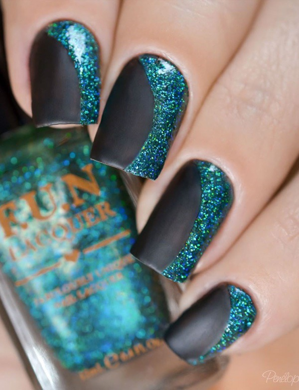 Black and green glitter nail art