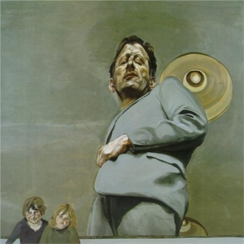 Reflection with Two Children (Self-Portrait) - Lucian Freud - WikiPaintings.org #freud #lucian #painting