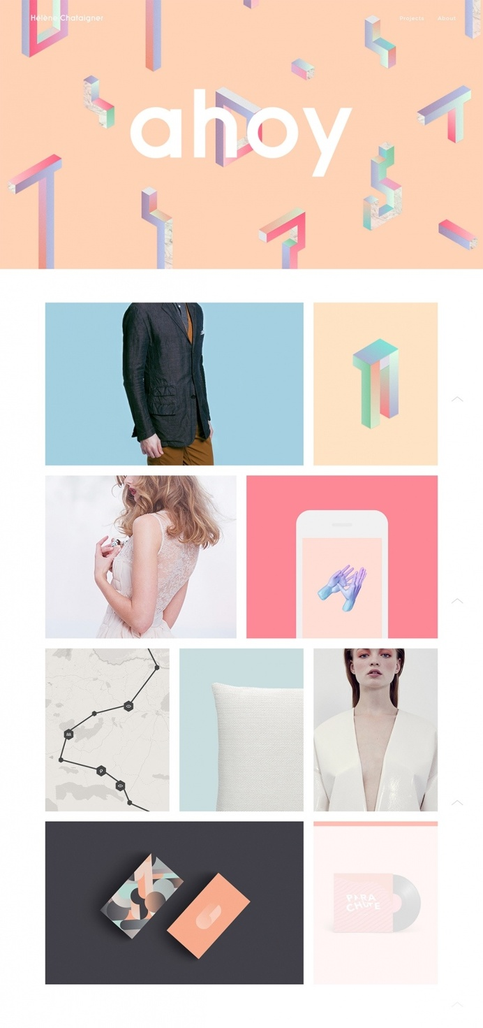 Ahoy Helene Chataigner amsterdam french art director portfolio designer. Colorful website.