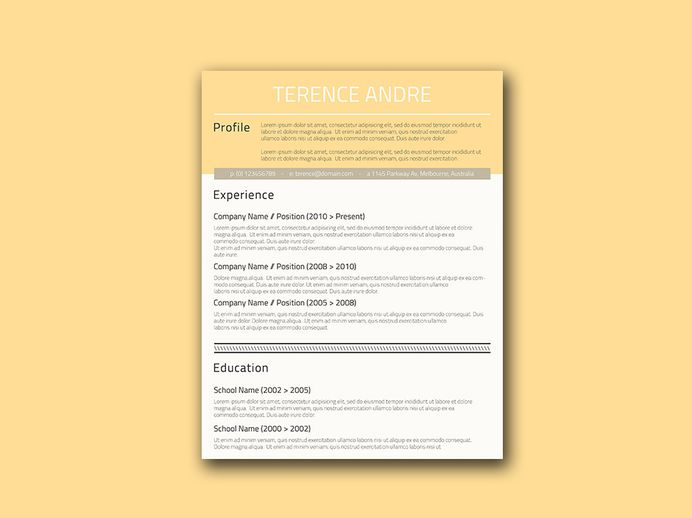 Free Buff Yellow Resume Template with Creative Design