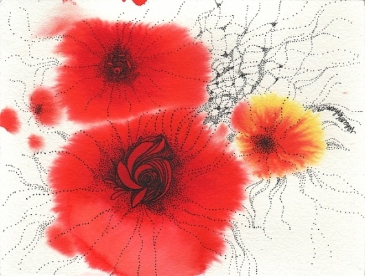 Feminine on the Behance Network #orange #illustrations #dots #aqaurelle #flowers