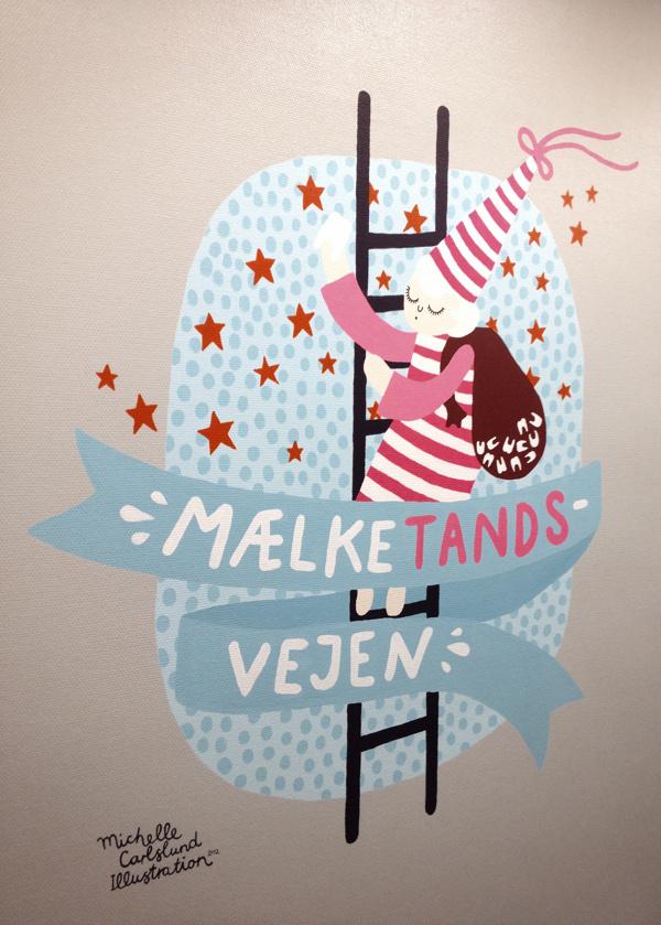 Michelle Carlslund wall paintings for dentist clinique. #teeth #tooth #fairy #milkyway #stars #hat #dreams #ladder #fairyta