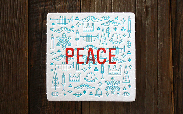 Miles Design 2013 Holiday Coaster Set #christmas #peace #coasters #letterpress