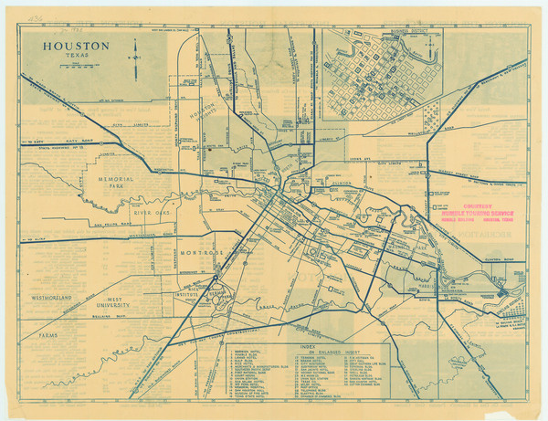 Antique map of Houston from 1935 houston texas • mappery