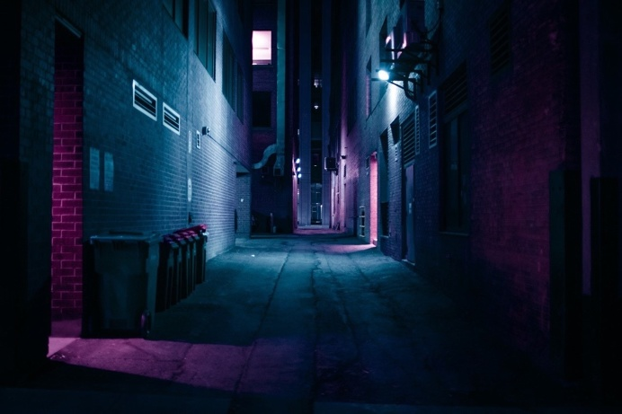 alley neon night urban
