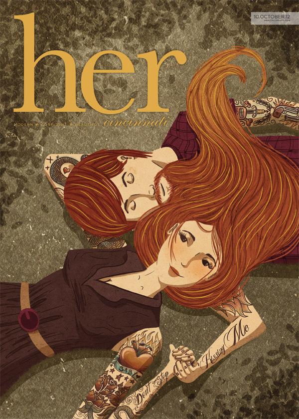 Her Magazine cover on Behance #romantic #love #illustraiton