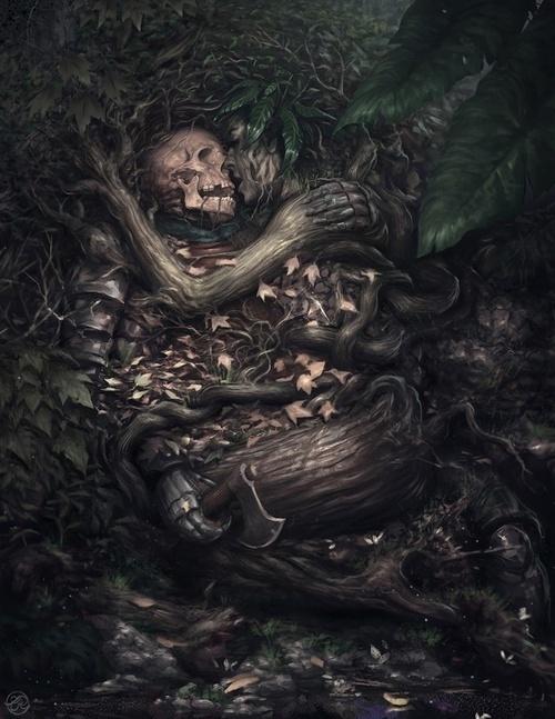Ryan Lee #fantasy #woman #tree #illustration #warrior #death