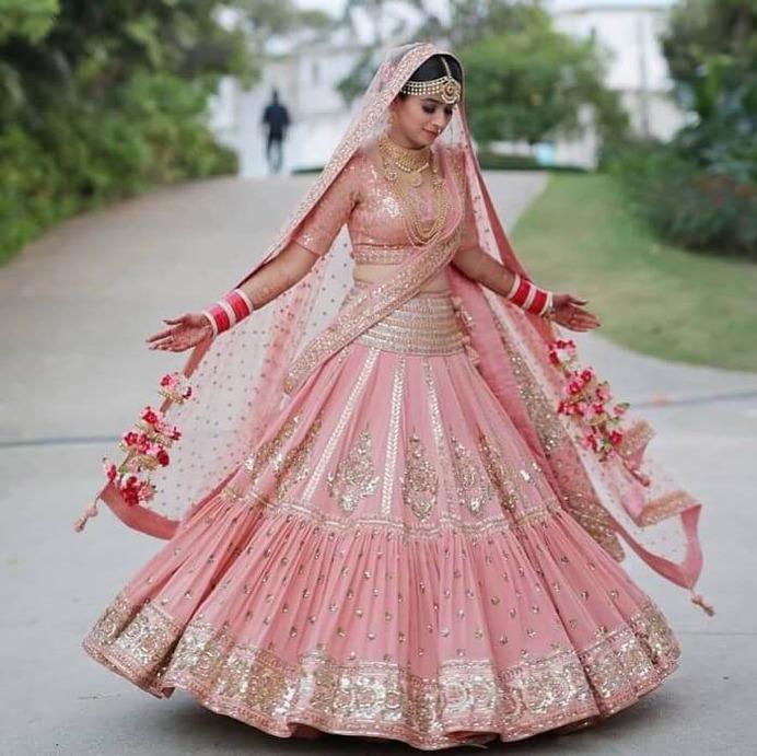 Semi light pink bridal lehenga