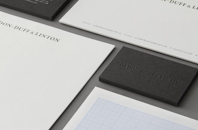 Gordon-Duff & Linton #identity #business card #emboss #gray #grey #branding #stationery #compliment slip #letterhead