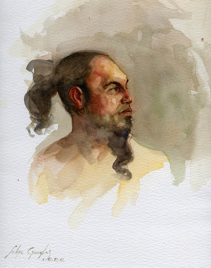 Yinn | Flickr - Photo Sharing! #beard #design #illustration #portrait #painting #art #man #watercolour