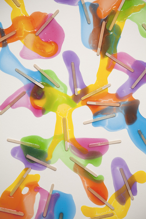 Detail of Popsicles (Rainbow) #14. 2011 Gloss medium, popsicle sticks, india ink on paper