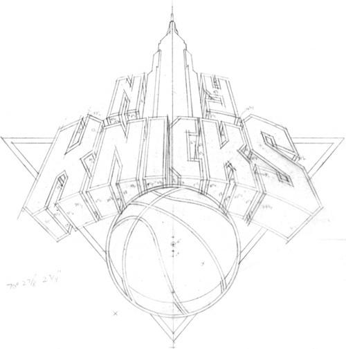 typeverything:NY Knicks logo sketch by Michael Doret. #logo #drawn #type #hand