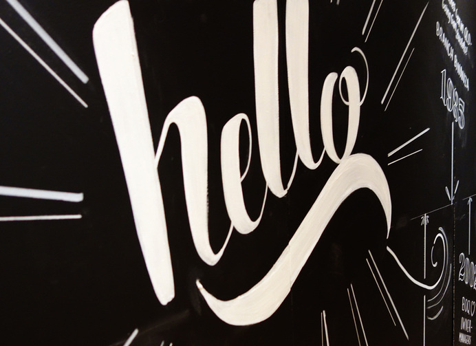 'Hello' Typography by Sophia Mary Mac #typography #brush #lettering #handlettering #handtype #blackboard #chalk #chalkboard #hello #layout