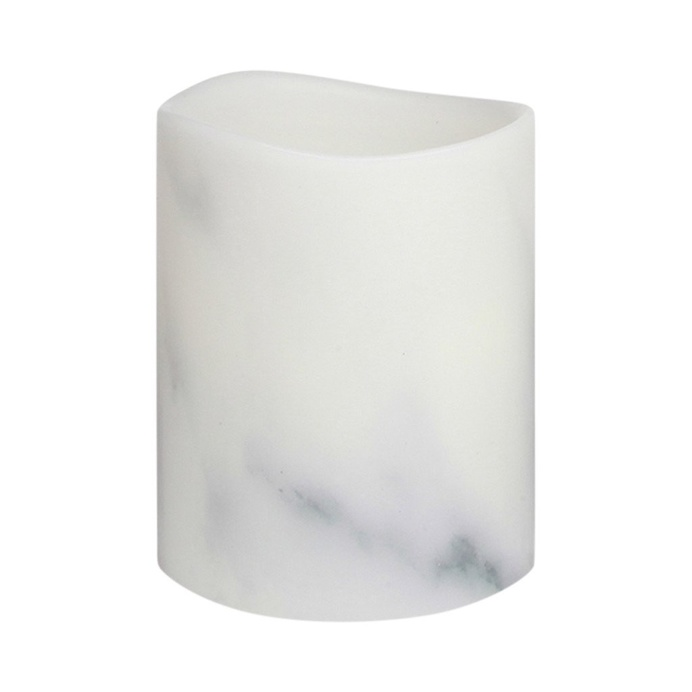 Carrara Marble Smooth Wax LED Flameless Pillar Candle, 8 cm x 10 cm