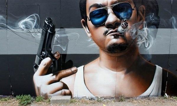 Gangster street art close look #graffiti #realism #street #art #realistic