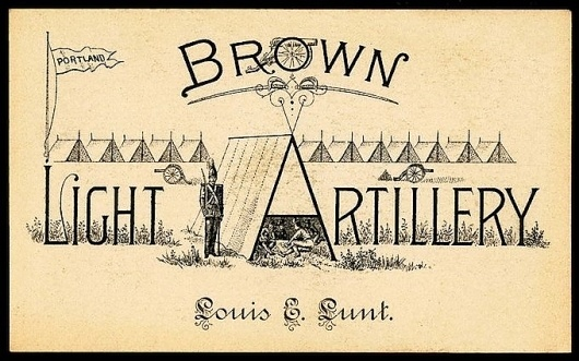 Brown Light Artillery | Sheaff : ephemera #type
