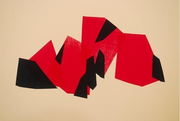 "Fawna Xiao, ""Blockade"", Screenprint on Revere Paper, 2012. LOST LAND- solo show, April 5th - 26th, 2013, Hillyer Art Space in Washington D #serigraph #silkscreen #geometry #printmaking #print #shapes #minimalism #simple #screen #angles #geometrics #neon"