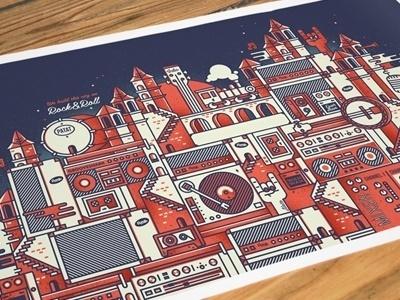 Dribbble - Grooveshark printout by Sander Legrand #illlustration #poster
