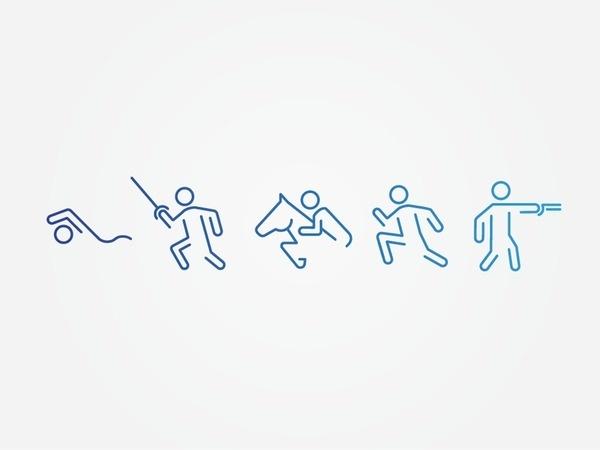 Pentathlon Pictograms #line #pictogram #icon #sign #symbol #sport