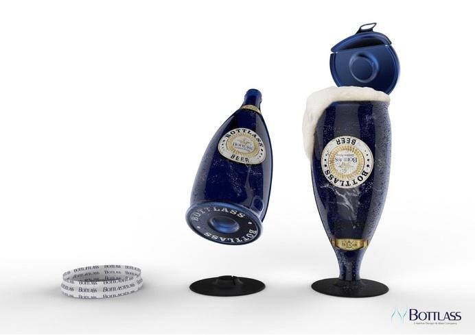 Bottlass - Bottle & Glass Dual Container — The Dieline #spirits #packaging #innovative