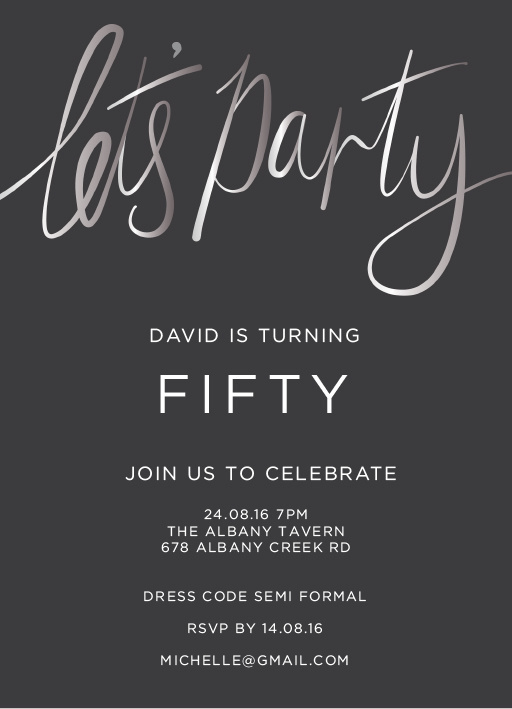 Let's Party Silver Foil - Birthday Invitations #paperlust #birthday #invitation #birthdaycards #birthdayinvitation #design #digitalcards #f