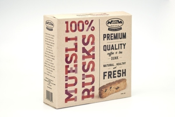 100% Muesli Rusks Packaging on the Behance Network #packaging #cookies #food
