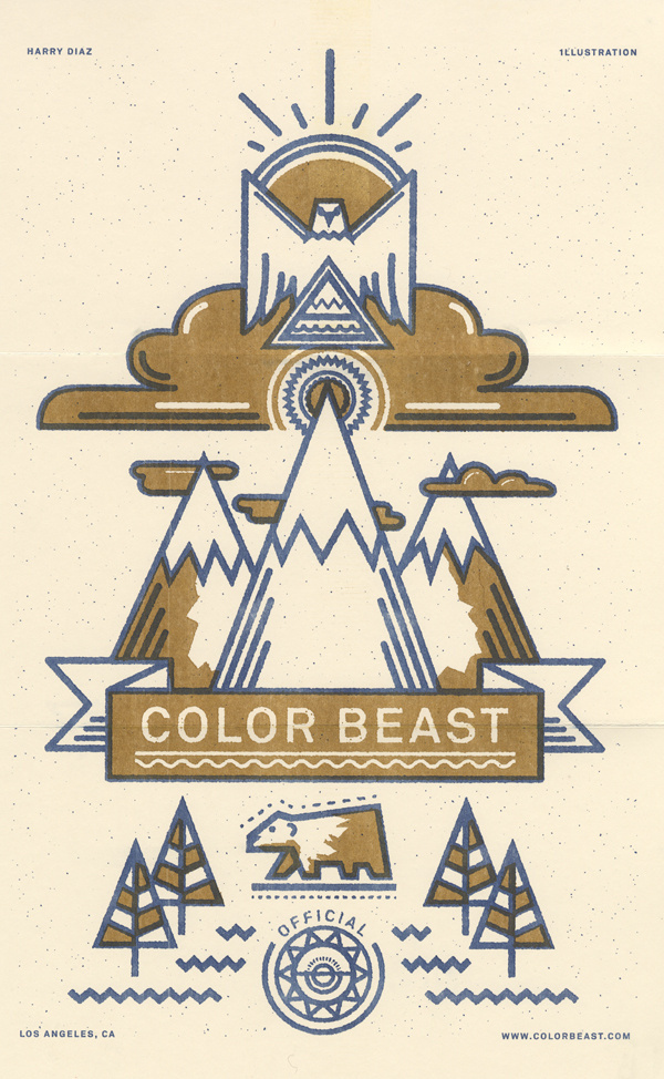 Self Promo // colorbeast #riso #print #landscape #risograph #eagle #french #symmetry #bear #paper