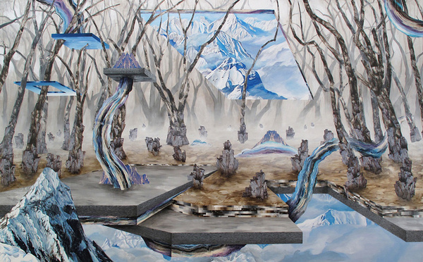 but does it float #abstract #mountain #ground #supernatural #tree #dali #unrealistic #painting #ice #drawing