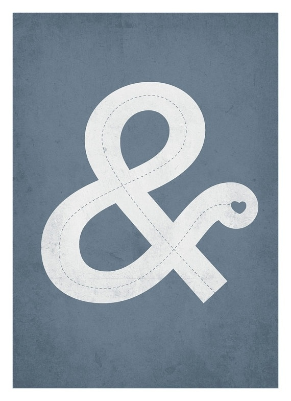 Ampersand with love typography poster VintageStyle by NeueGraphic #print #ampersand #neuegraphic #poster #art #typography