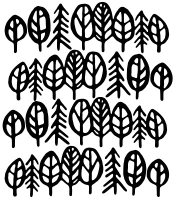 French_Paper_817807.jpg (360×400) #white #pattern #black #trees #leaves