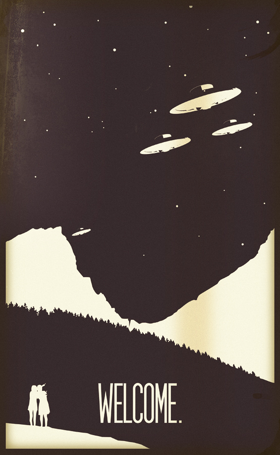 A87 // ILLUSTRATION #alien #white #minimalistic #negative #ufo #positive #black #wood #vintage #poster #and #welcome #mountains #trees
