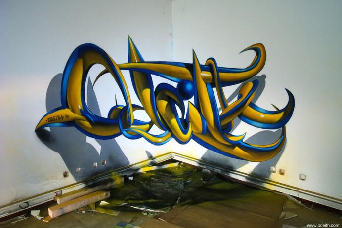 odeith anamorphic 3d graffiti letters plastic blue yellow tubes #graffiti #anamorphic #odeith