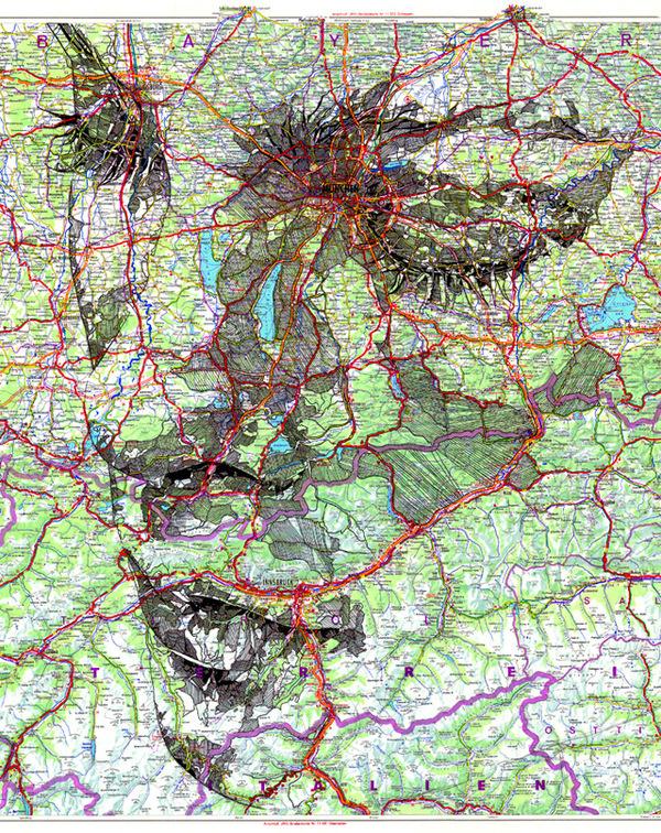 Portraits Drawn on Maps by Ed Fairburn #portraits #drawing #maps