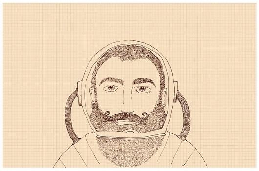 Char Lee | Illustration #astronaut #beard #bearded #illustration #man #charlee #moustache