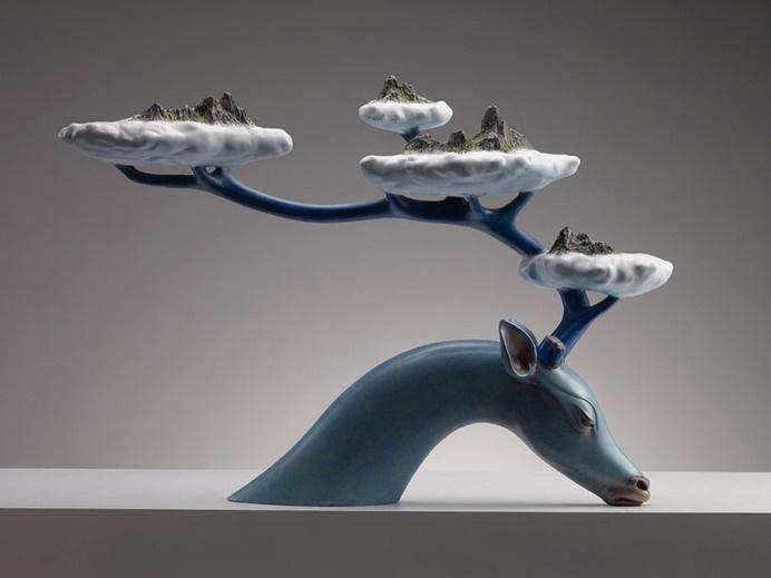 wang ruilin unites man and myth for surreal animal sculpture series #sculpture
