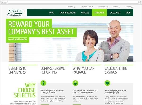 Selectus Salary Packaging Website Employers Homepage #photo #grid #stock #layout #web #green