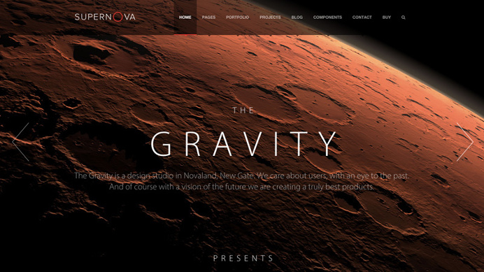 Supernova theme for an excellent one page web design.