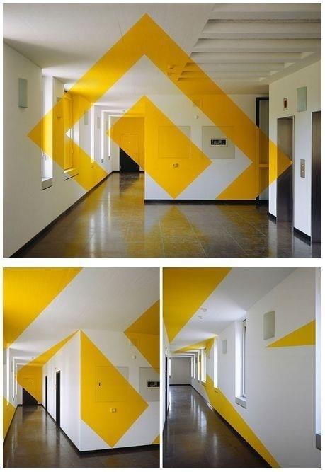 Artist Felice Varini creates breathtaking anamorphic illusions. #yellow #wall