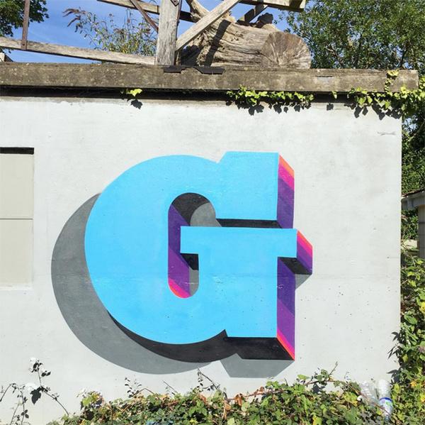 #3Dtype #G #typography #graffiti #wall