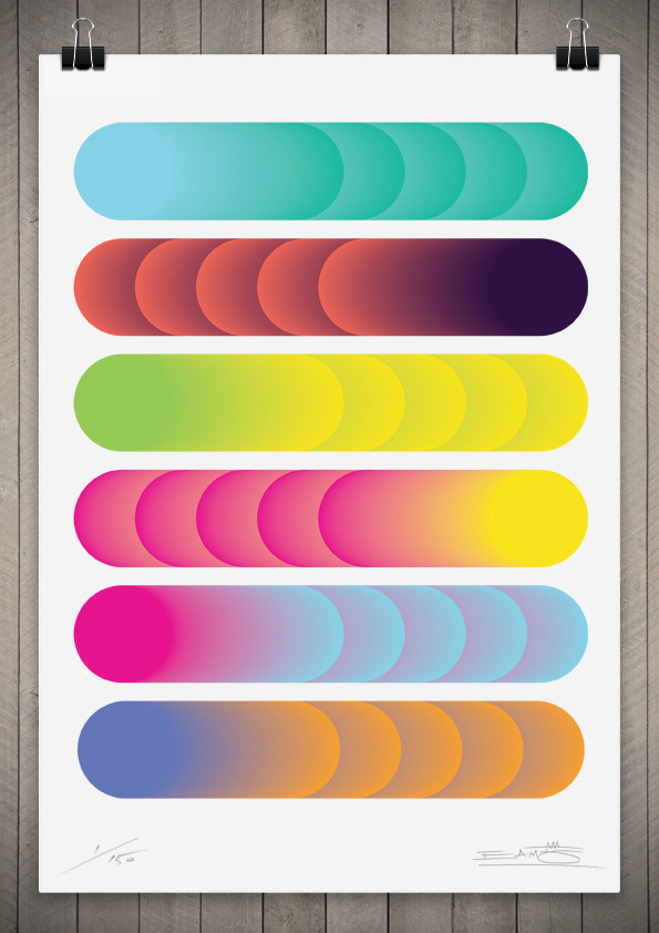 Image of Cylindrical Colour Series 1 111cm x 76cm #circle #color #geometry #gradient
