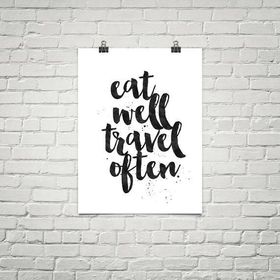 Printable Art: eat well travel often. Designed by iloveprintable.com