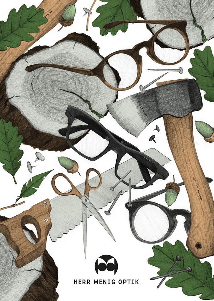 Ad illustration for Herr Menig Optik, an optician in Nürnberg Germany - www.philippzm.com #glasses #optician #saw #illustration #ad #axe #leaves