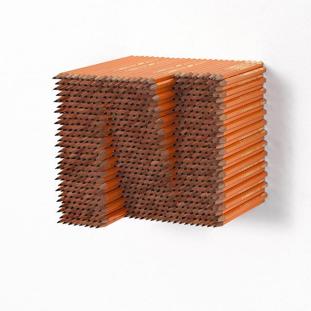 Jacob Dahlgren Creates Op Art-Inspired Sculptures Using Pencils   Hi-Fructose Magazine #sculpture #design #letter #art #pencils