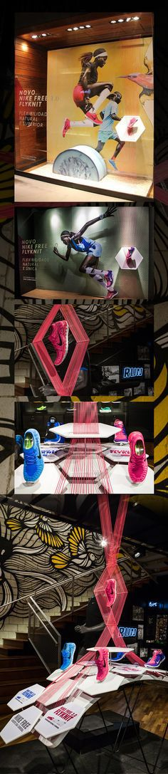 Is a way that how they display their products. And they are used string which is same color with the shoes and highlight their product color.