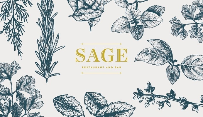 Sage Restaurant and Bar, Makati Shangri-La (Philippines) #branding #typography #design #food #illustration #identity #logo #leaves