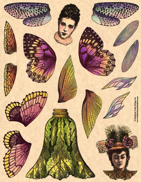 Winged paper doll #dolls #self #engraving #butterfly #elves #wings #paper